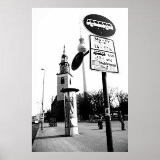 Berlin Schwarz Weiß Straßenfotografie Poster