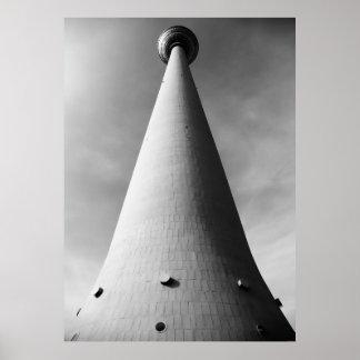 Berliner Fernsehturm Schwarz Weiß Poster