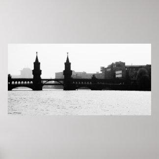 Berliner Oberbaumbrücke Schwarz Weiß Poster