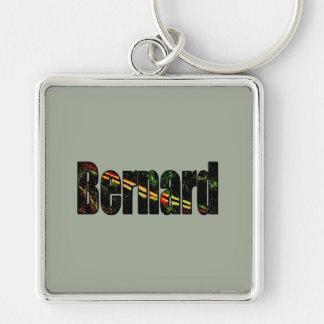 Bernard silberner Ton Keychain Silberfarbener Quadratischer Schlüsselanhänger