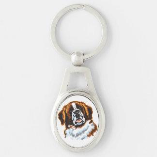 Bernhardiner Silberfarbener Oval Schlüsselanhänger