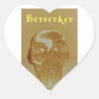 Berserker Schädel Herz-Aufkleber