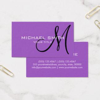 Berufliche elegante Monogramm-Ebenen-Flieder Visitenkarten