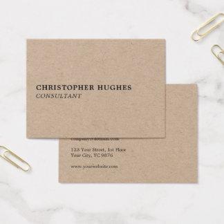 Beruflicher einfacher eleganter Packpapier-Berater Visitenkarte
