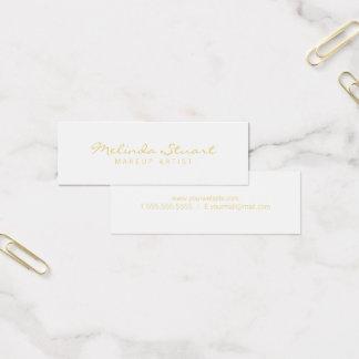 Berufliches einfaches modernes Weiß und Gold Mini Visitenkarte