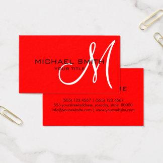 Berufliches elegantes Monogramm-Ebenen-Rot Visitenkarten