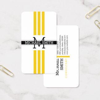 Berufliches Monogramm moderne Jonquil Streifen Visitenkarte