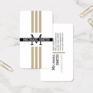 Berufliches Monogramm-moderne kakifarbige Streifen Visitenkarte