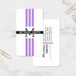 Berufliches Monogramm-moderne Lavendel-Streifen Visitenkarte