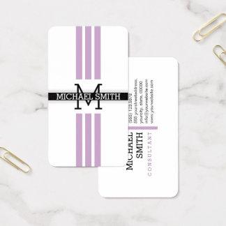 Berufliches Monogramm-moderne lila Streifen Visitenkarte