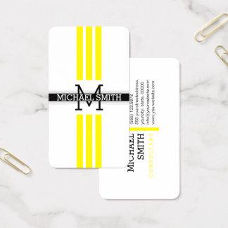 Berufliches Monogramm-moderne Zitronen-Streifen Visitenkarte