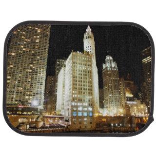 Berühmte Sehenswürdigkeit Chicagos nachts Automatte