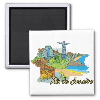 Berühmte Stadt Rio de Janeiro, Brasilien Quadratischer Magnet