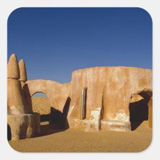 Berühmtes Film-Set Stern-Kriegsfilme in Sahara Quadrataufkleber