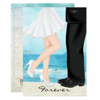 Bestimmungsort-Strand-Hochzeit mit Braut und Karte