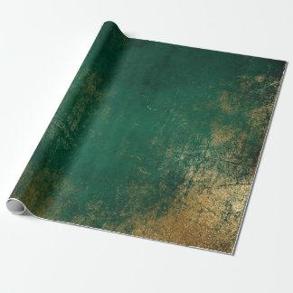 Beunruhigtes Goldtiefgrünes Smaragdtropisches Geschenkpapier