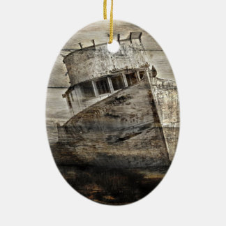 Beunruhigtes hölzernes Seerustikales Segelboot des Ovales Keramik Ornament