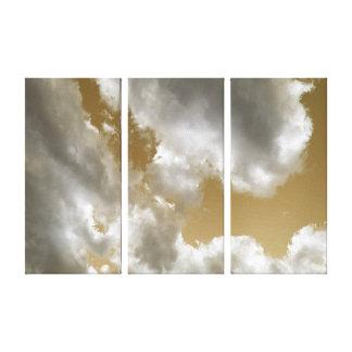 Bewölkte Sepia-Himmel-Triptychon-Kunst Leinwanddrucke