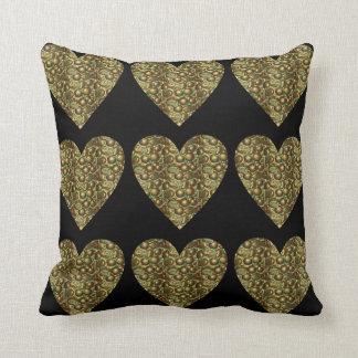 Bezaubernde Herz-quadratisches Wurfs-Bronzekissen Kissen