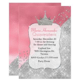 Bezaubernde rosa und silberne Krone Quinceañera Karte
