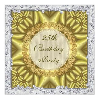 Bezauberndes Gold-u. Silber-25. Geburtstags-Party Quadratische 13,3 Cm Einladungskarte