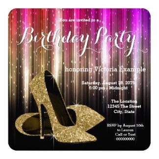 Bezauberndes hohe Fersen-Schuh-Geburtstags-Party Quadratische 13,3 Cm Einladungskarte