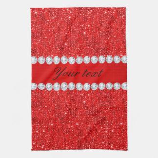 Bezauberndes Imitat-rote Sequins und Diamanten Geschirrtuch
