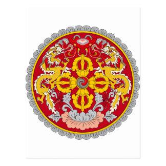 Bhutan-Emblem. Drachemotiv Postkarte