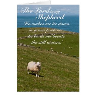 Bibel-Vers des Psalm-23, irische Schaf-Feld-Karte Grußkarte