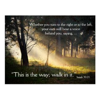 Bibel-Vers-Jesaja-30:21 ist dieses die Postkarte