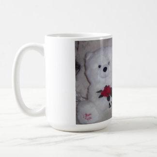 Bichon frise mit weißem Teddybärbären Kaffeetasse