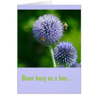 """Bienen auf lila Lauch, (Photog) """"gewesen Mitteilungskarte"""