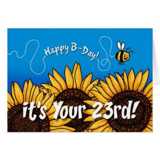 Bienenhintersonnenblume - 23 Jahre alt Grußkarte