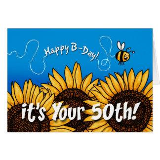 Bienenhintersonnenblume - 50 Jahre alt Grußkarte