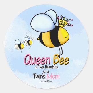 Bienenkönigin-Mamma des Zwillingsaufklebers Runder Aufkleber