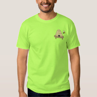 Bienenstock mit Biene Besticktes T-Shirt