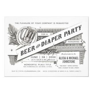 Bier-u. Windel-Party-Baby-Duschen-Einladungen Karte