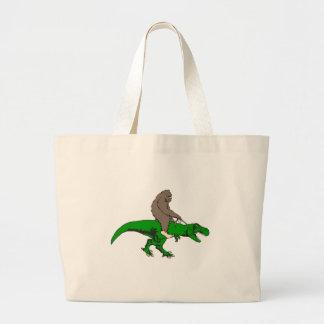 Bigfoot, der T Rex reitet Jumbo Stoffbeutel