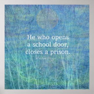 Bildungslehrer-Unterrichtszitat Victor Hugo Poster