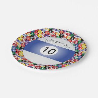 Billard-Pool-Ball-Streifen Nr. zehn Pappteller 17,8 Cm