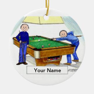 Billard, Pool-Spieler - Mann u. Mann Keramik Ornament