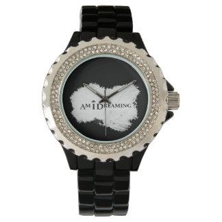 Bin ich Rhinestone-Uhr-Schwarzes träumend Uhr