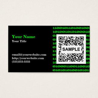 Binäre QR Code-Visitenkarte - einfarbiges Grün Visitenkarte