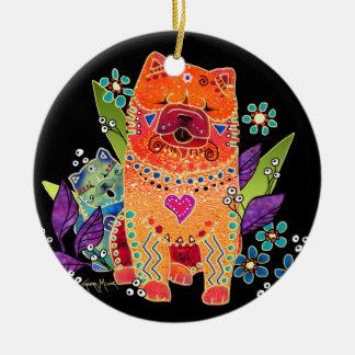BINDI MACHEN Chow-Chow VERZIERUNG glatt Rundes Keramik Ornament