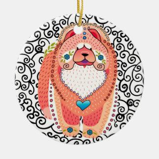 BINDI SOPHIE Chow-Chow VERZIERUNG Rundes Keramik Ornament