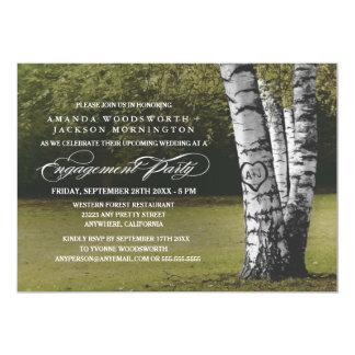 Birken-Baum-Initialen-Verlobungs-Party Einladungen