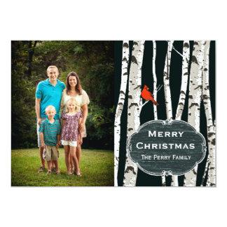 Birken-Baum-kundenspezifischer Foto-Weihnachtsgruß 12,7 X 17,8 Cm Einladungskarte