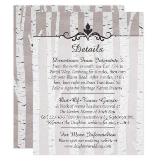 Birken-Baum-rustikale Hochzeits-Details/Richtungen Karte