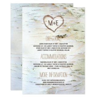 Birkenrinde-Herz-rustikale Hochzeits-Informationen 11,4 X 15,9 Cm Einladungskarte
