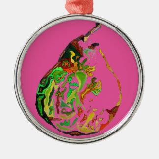Birnenfrucht-Popkunst-Wasserfarbeillustration Rundes Silberfarbenes Ornament